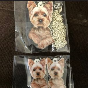 YORKIE NECKLACE AND EARRINGS SET